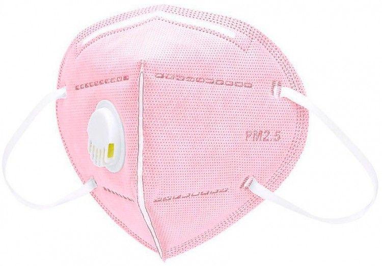Маска респираторная 6-ти слойная, с клапаном, розовая, 1шт, SAFETY