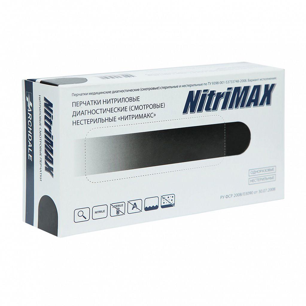 Перчатки нитриловые, черные, L, 100 шт, NitriMax ARCHDALE