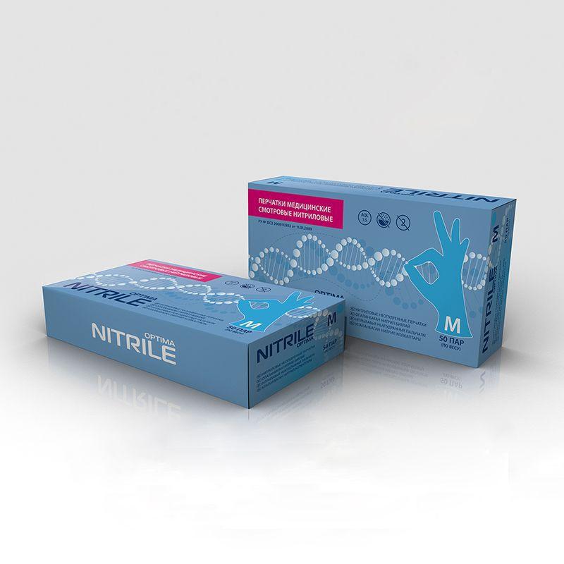 Перчатки нитриловые голубые размер L, 100 шт, mediOK