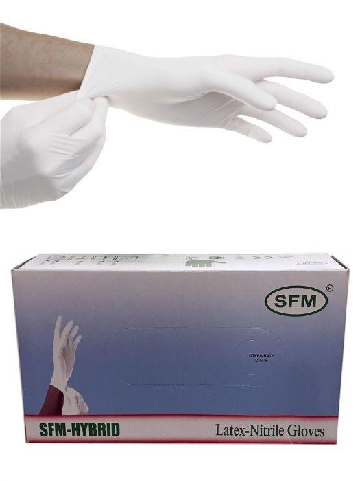 Перчатки латексные/нитриловые, белые, XL, 100 шт,  SFM-HYBRID
