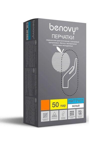 Перчатки нитриловые белые  размер M, 100 шт, Benovy