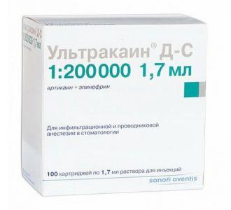 Ультракаин Д-С Раствор для инъекций  40мг/мл +0,005 мг/мл Картриджи 1,7мл Х 100