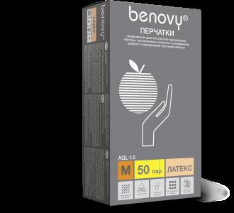 Перчатки BENOVY Dental Formula Double Chlorinated  латексные светло-желтые,  M, 100шт, Benovy