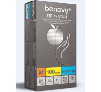 Перчатки нитриловые голубые  размер M, 200 шт, Benovy