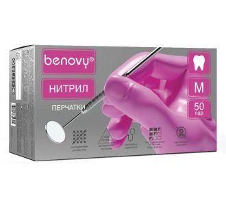 Перчатки нитриловые розовые размер S, 100 шт, BENOVY Nitrile MultiColor