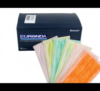 Маски Euronda трехслойные лайм, 50шт