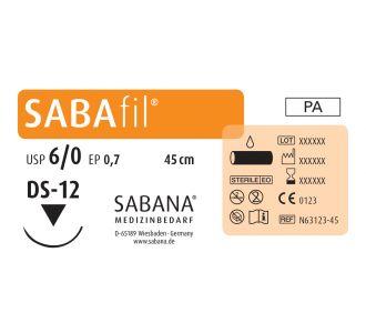 Нейлон Sabana Sabafil 6-0, игла обратно-режущая DS-12, окружность 3/8, цвет черный, 45 см