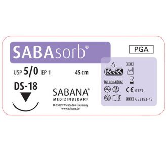 Sabana Medizinbedarf Sabasorb 5-0 игла обратно-режущая DS-18, окр.3/8, цвет фиолетовый, 45см