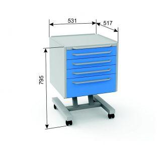 Модуль подкатной  c 4-мя ящиками, серия Эконом, цвет белый